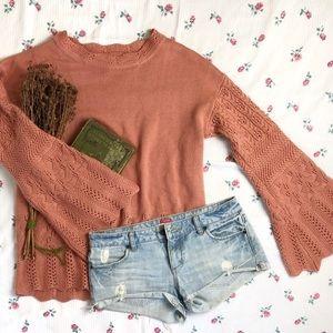 Umgee | orange boho bell sleeve knit sweater